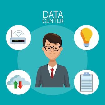 Datacenter-technologie und geschäftsleute