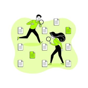Datei, die konzeptillustration sucht