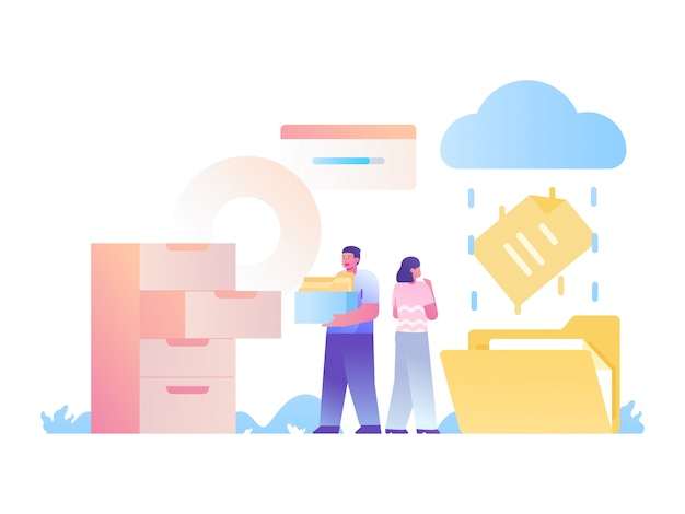 Datei hochladen und management-konzept illustration speichern