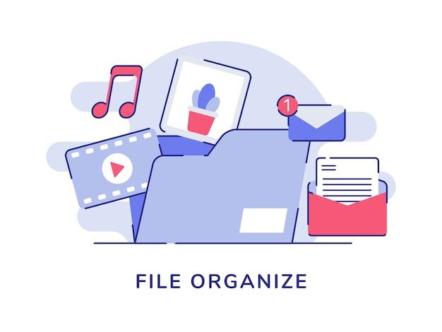 Datei organisieren konzept video musik bild e-mail-nachricht in datei ordner weißen isolierten hintergrund