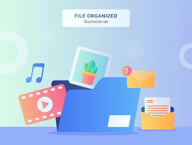 Datei organisiert illustration set datei ordner enthält video musik bild nachricht e-mail mit flachem stil