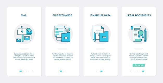 Dateiaustausch in geschäftsbüros. ux, ui onboarding mobile app set speicherung von finanzdatenberichten, übertragung und verwaltung von rechtsfinanzdokumenten, rechtsvertrag