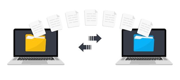 Dateien übertragen. datei mit daten zwischen geräten übertragen. übertragung von dokumenten zwischen zwei computern. sicherung von informationen. daten austauschen. senden des dokuments. datenverschlüsselung, geschützte verbindung