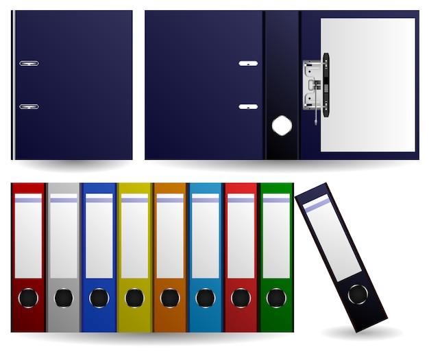 Dateien und ordner ring binder. satz von mehreren farben von dateien und ordnern. geöffneter und geschlossener ordner.