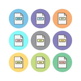 Dateiformate icons blatt isoliert auf weißem hintergrund