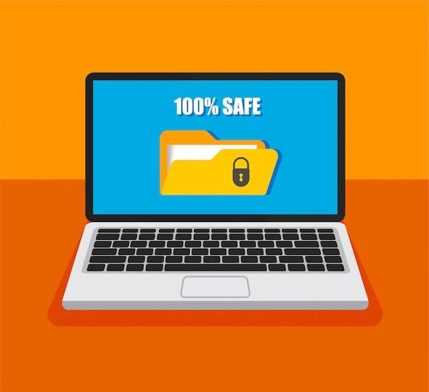 Dateischutz. öffnen sie den laptop mit gesperrtem ordner auf einem bildschirm