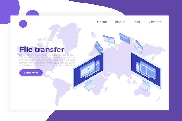 Dateiübertragung auf dem desktop isometrisches konzept. synchronisierung, cloud-technologie.