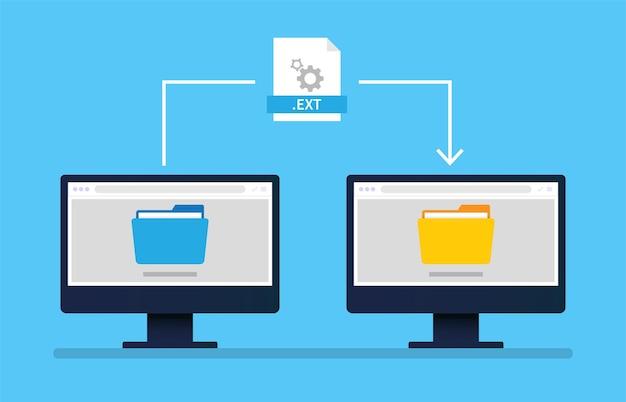 Dateiübertragungscomputer zwischen zwei monitorkonzepten.