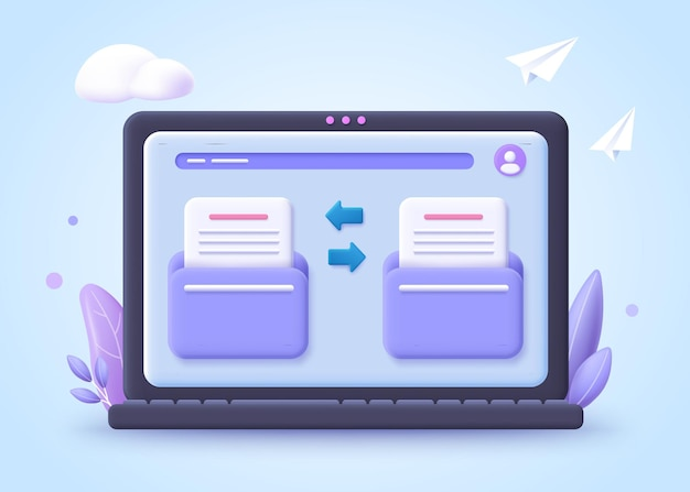 Dateiübertragungskonzept. zwei ordner mit übertragenen dokumenten und dateien. 3d-illustration.