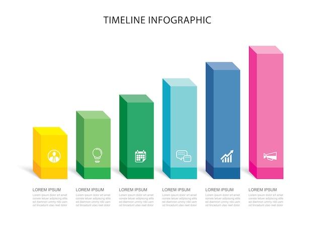 Daten infografiken rechteck schritt wachstum erfolg vorlage design. kann für workflow-layout, geschäftsschritt, banner, webdesign verwendet werden.