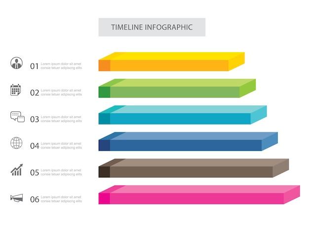 Daten infografiken rechteck schritt wachstum erfolg vorlage design.