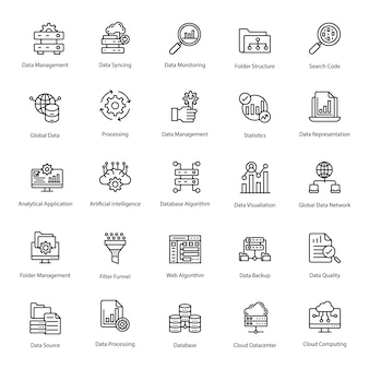 Daten management line icons pack