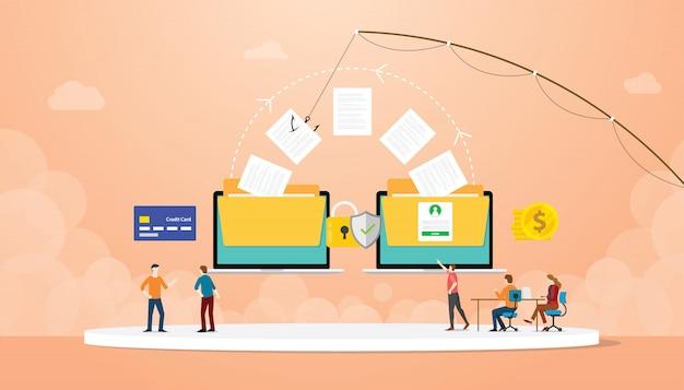 Daten-phishing, das informationen mit köder- und teamleute-hacker stiehlt
