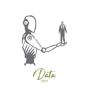 Daten, roboter, technologie, maschine, intelligenzkonzept. hand gezeichneter mensch auf hand der roboterkonzeptskizze.