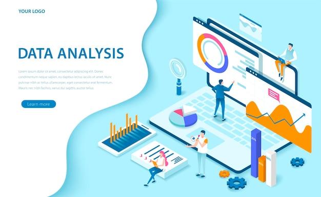 Datenanalyse 3d-illustration im isometrischen stil in blauton