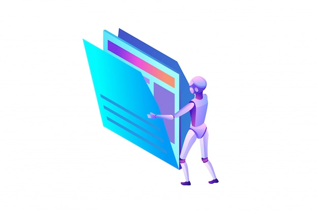 Datenanalyse, dateien und ordner, roboter, der dokumente bewegt