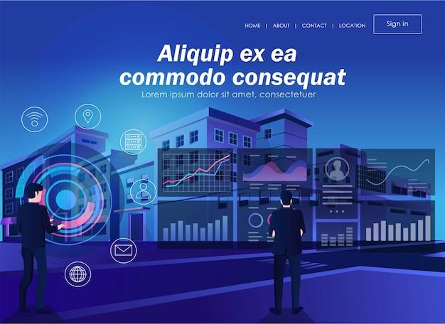 Datenanalyse der digitalen transformation im flat design
