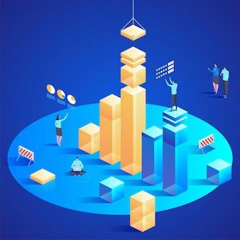 Datenanalyse für website und mobile website. einfach zu bearbeiten und anzupassen. isometrische konzeptillustration des modernen entwurfs