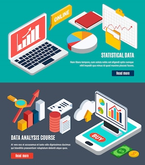 Datenanalyse-horizontale fahnen