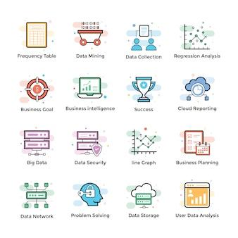 Datenanalyse-icons set