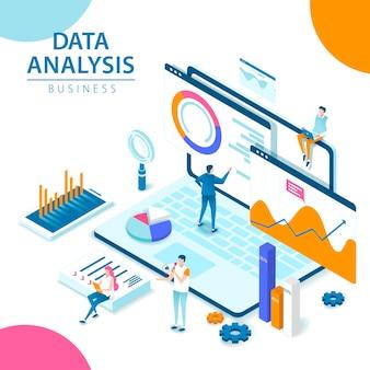 Datenanalyse isometrische 3d-stilillustration mit leuten um laptop