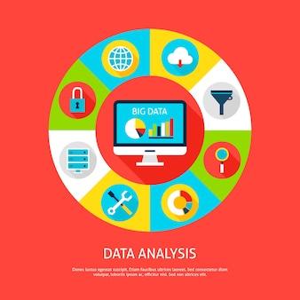 Datenanalyse-konzept. vektor-illustration von datenbank-infografiken-kreis mit computer- und digitalen symbolen.