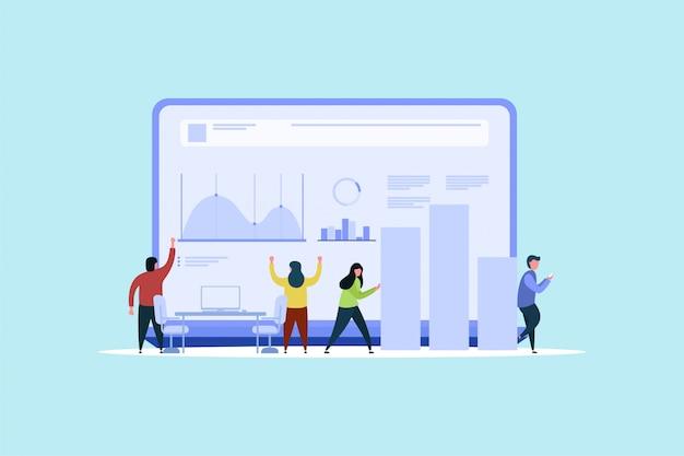 Datenanalyse-teamwork-konzept-hintergrund