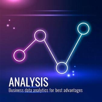 Datenanalyse-technologievorlage für social-media-beiträge in dunkelblauem ton