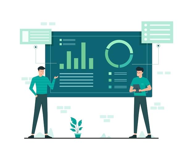 Datenanalyse und marketing flache illustration
