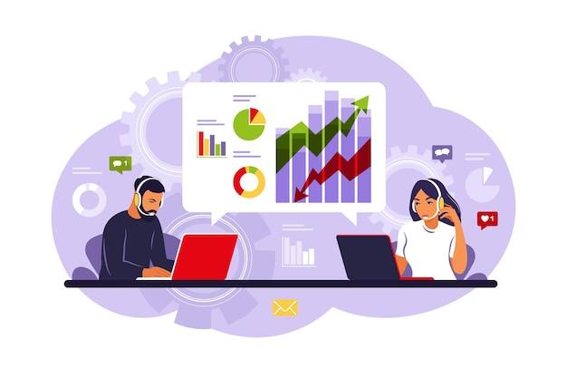Datenanalyse- und marketingkonzept. personenanalysten, die mit daten im dashboard arbeiten.