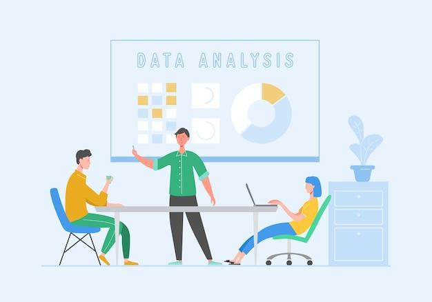 Datenanalysekonzept mit zeichen. teamwork-konzept für geschäftstreffen. mann und frau mit laptop. kollegen, die brainstorming kommunizieren, diskussionsidee. flache karikaturillustration