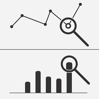 Datenanalysesymbol mit lupe. reihe von analysesymbolen.