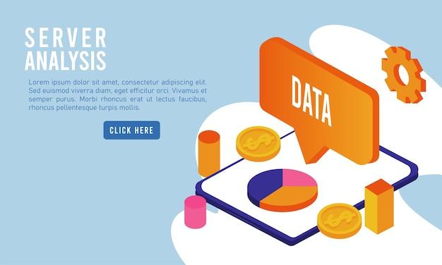 Datenanalysetechnologie mit tablet und sprechblase.