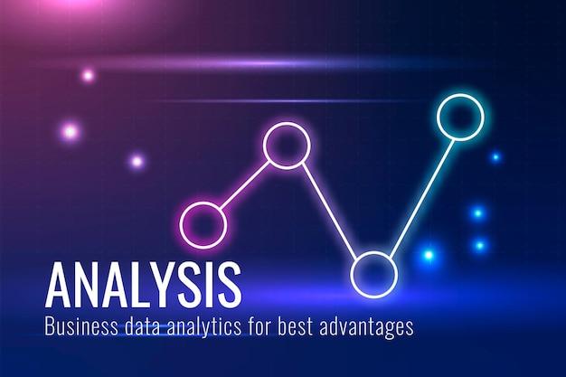Datenanalysetechnologie-vorlagenvektor in dunkelblauem ton