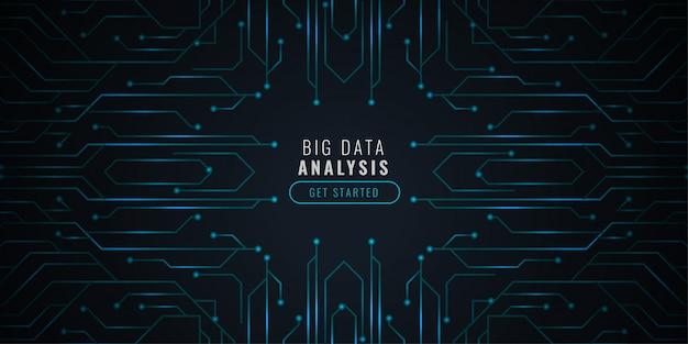 Datenanalysetechnologiehintergrund mit schaltplan