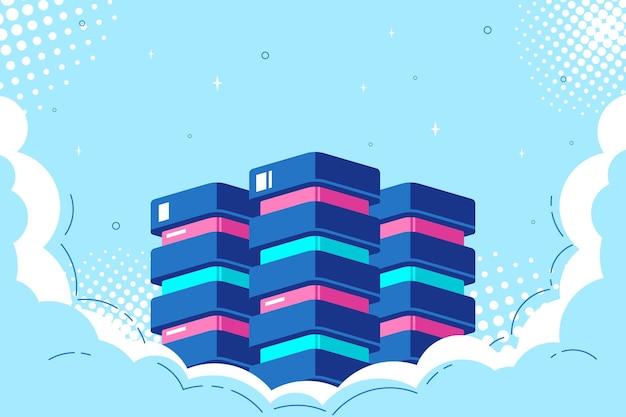 Datenbank in clouds, konzept der speicherung und verarbeitung von big data Premium Vektoren