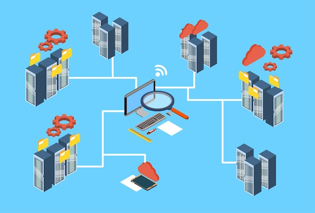 Datenbank-server-suchdaten 3d isometrisches design