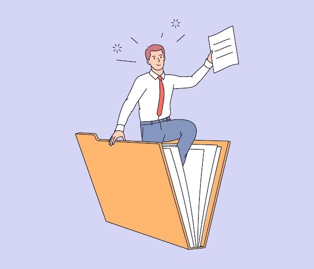 Datenbank, suche nach informationen. büroangestellter des jungen mannes, der datei zum großen ordner sucht. geschäftsmann hält papierdokument. benutzer- und datenarchiv