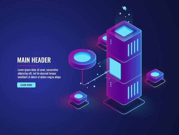 Datenbank und prozessdaten verarbeiten ikone, rechenzentrum, serverraum, wolkenspeicherillustration