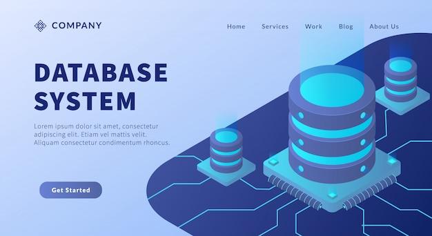 Datenbanksystemkonzept mit big-data-umgebung und verbindungsübertragungsdaten im isometrischen stil