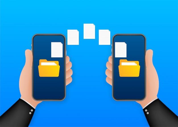 Datenbild-dateiübertragung zwischen gerät smartphone. datenübertragungskopie dateien datenblatt austauschkonzept. illustration.