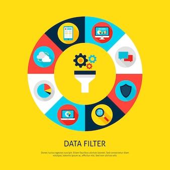 Datenfilterkonzept. vektor-illustration des datenbank-infografik-kreis mit trichter und digitalen symbolen.