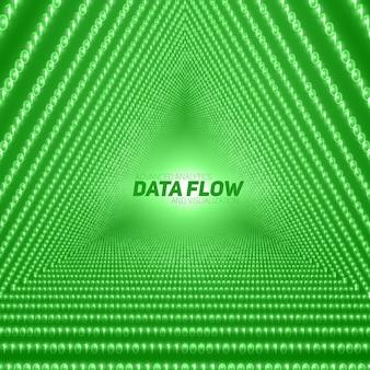 Datenflusshintergrund mit dreieckigem tunnel