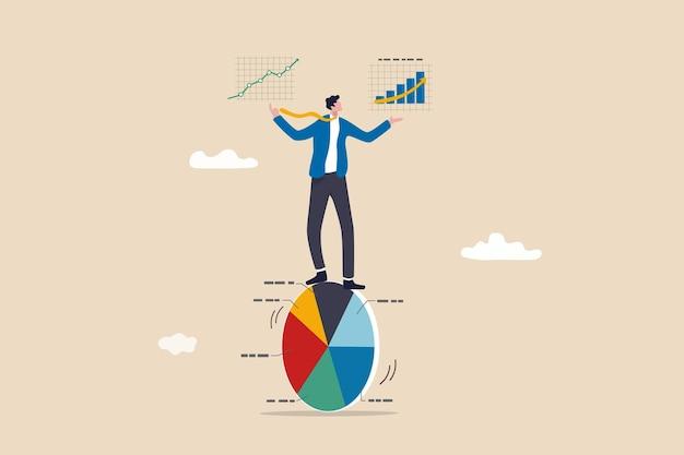 Datengetrieben durch analyseforschung, anzeigenoptimierung basierend auf benutzer- oder kundenverhalten, statistiken zur verbesserung des umsatzes, intelligentes geschäftsgleichgewicht und kontroll-kreisdiagramm mit analysedaten in händen.