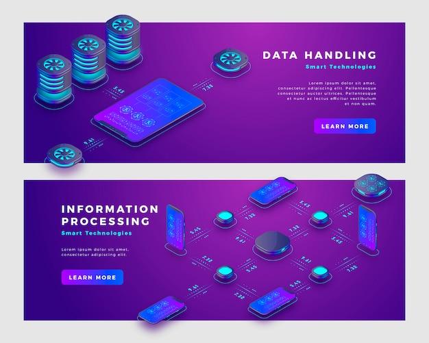 Datenhandhabungs- und informationsverarbeitungskonzept-fahnenschablone.