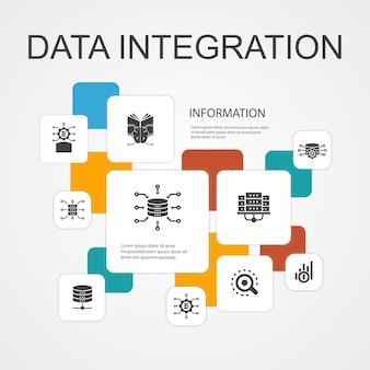 Datenintegration infografik 10-linien-symbole-vorlage. datenbank, datenwissenschaftler, analytics, machine learning einfache symbole