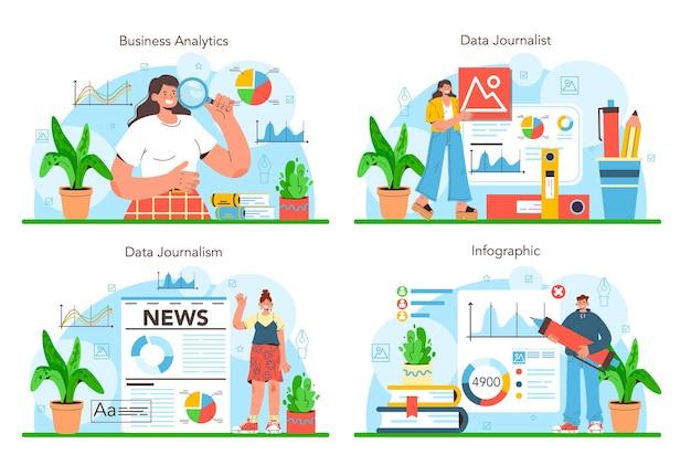 Datenjournalismus oder datengesteuerter journalismus-konzeptsatz. big-data-filterung