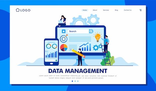 Datenmanagement landing page illustration vorlage