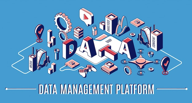 Datenmanagement-plattform, dmp isometrische infografik banner, business analytics finanzstatistik