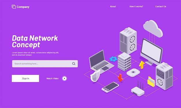 Datennetzwerk-konzept basierte landing page design.